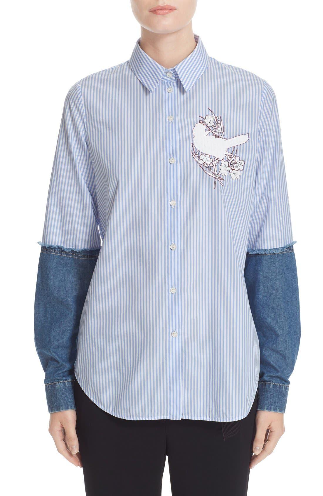 N°21 Denim Sleeve Stripe Shirt