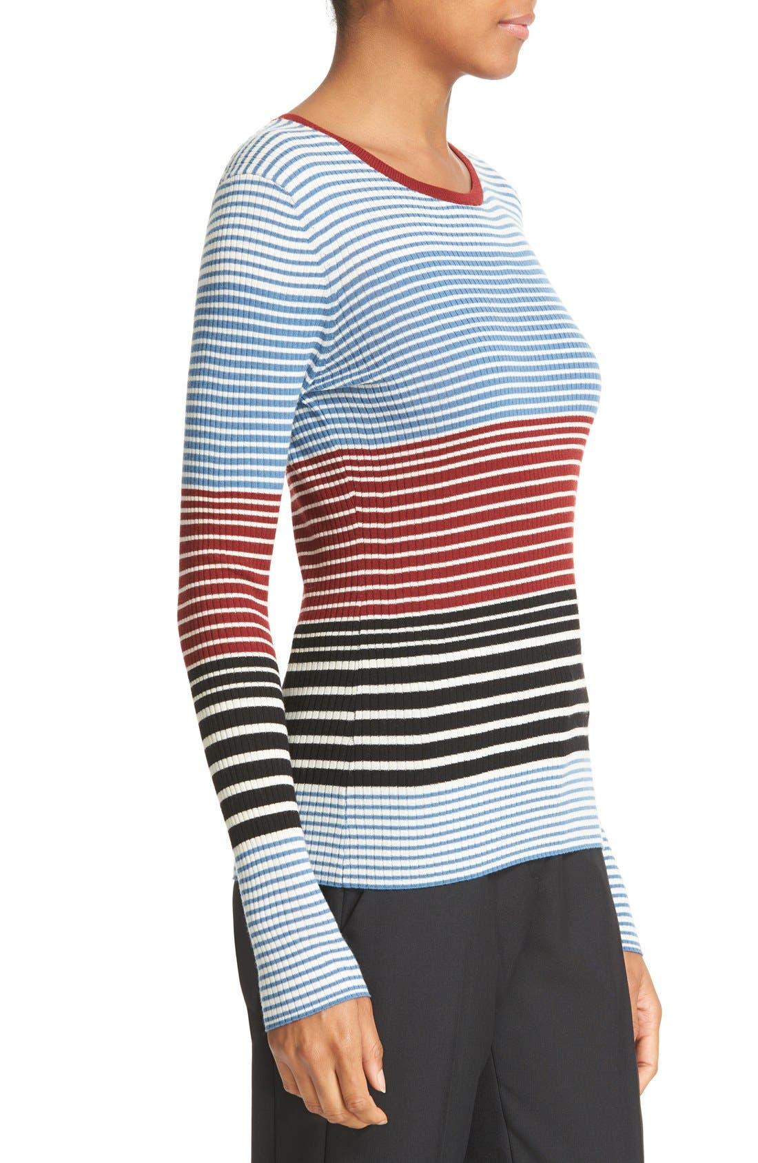 Alternate Image 3  - Theory Mirzi Stripe Rib Knit Merino Sweater