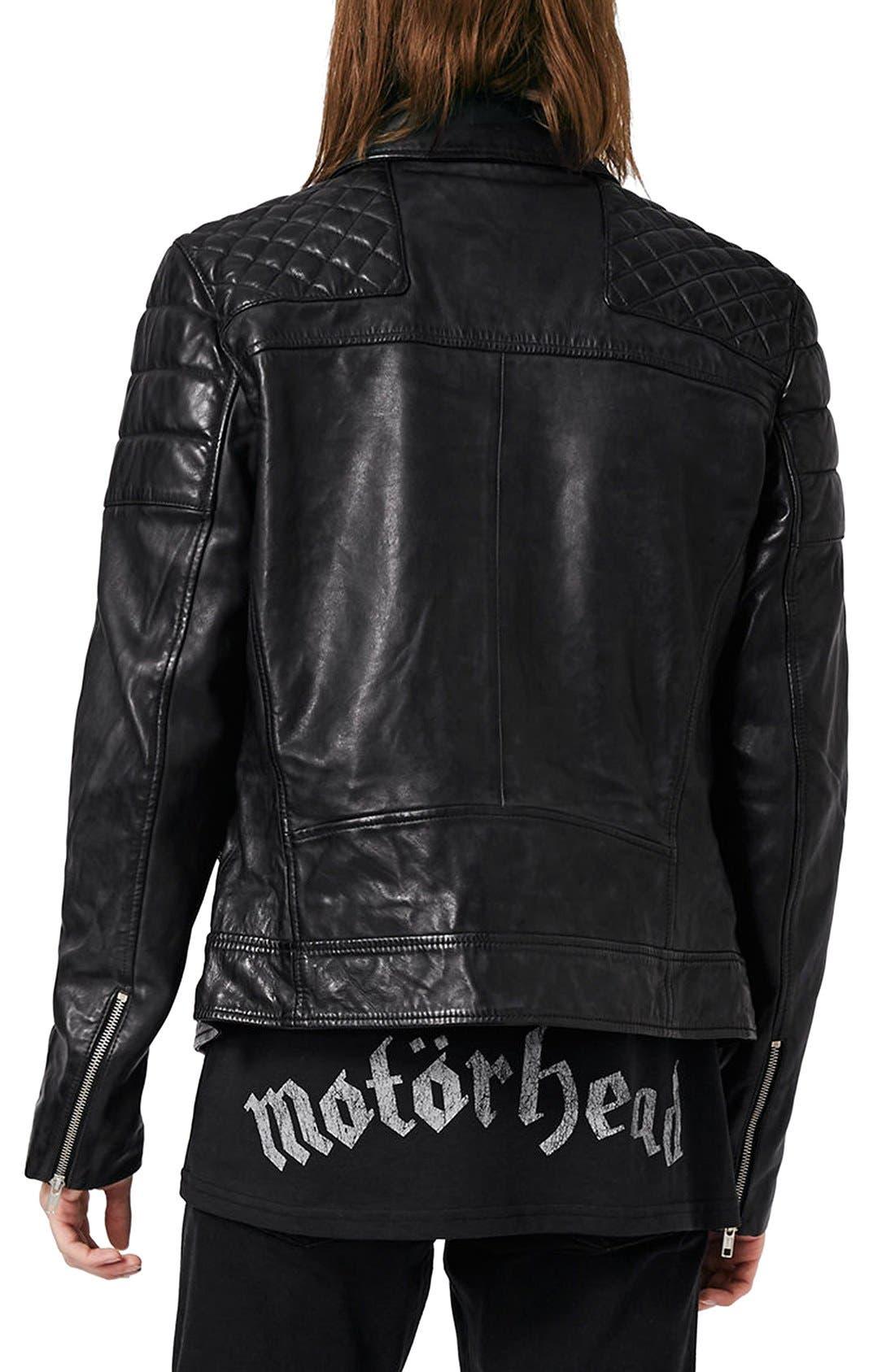 Alternate Image 3  - Topman Quilted Leather Biker Jacket