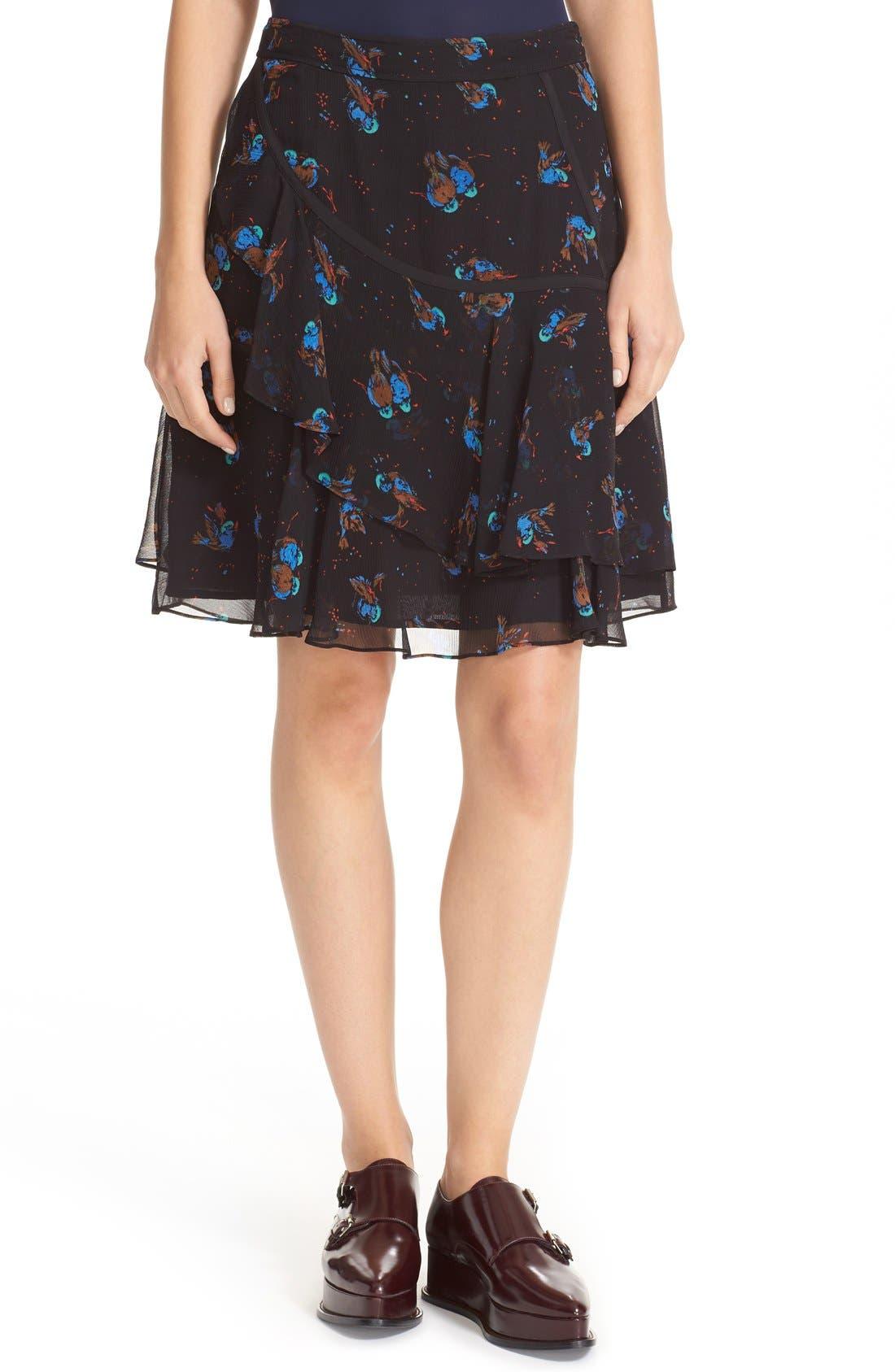 COACH 1941 Print Flounced Silk Skirt