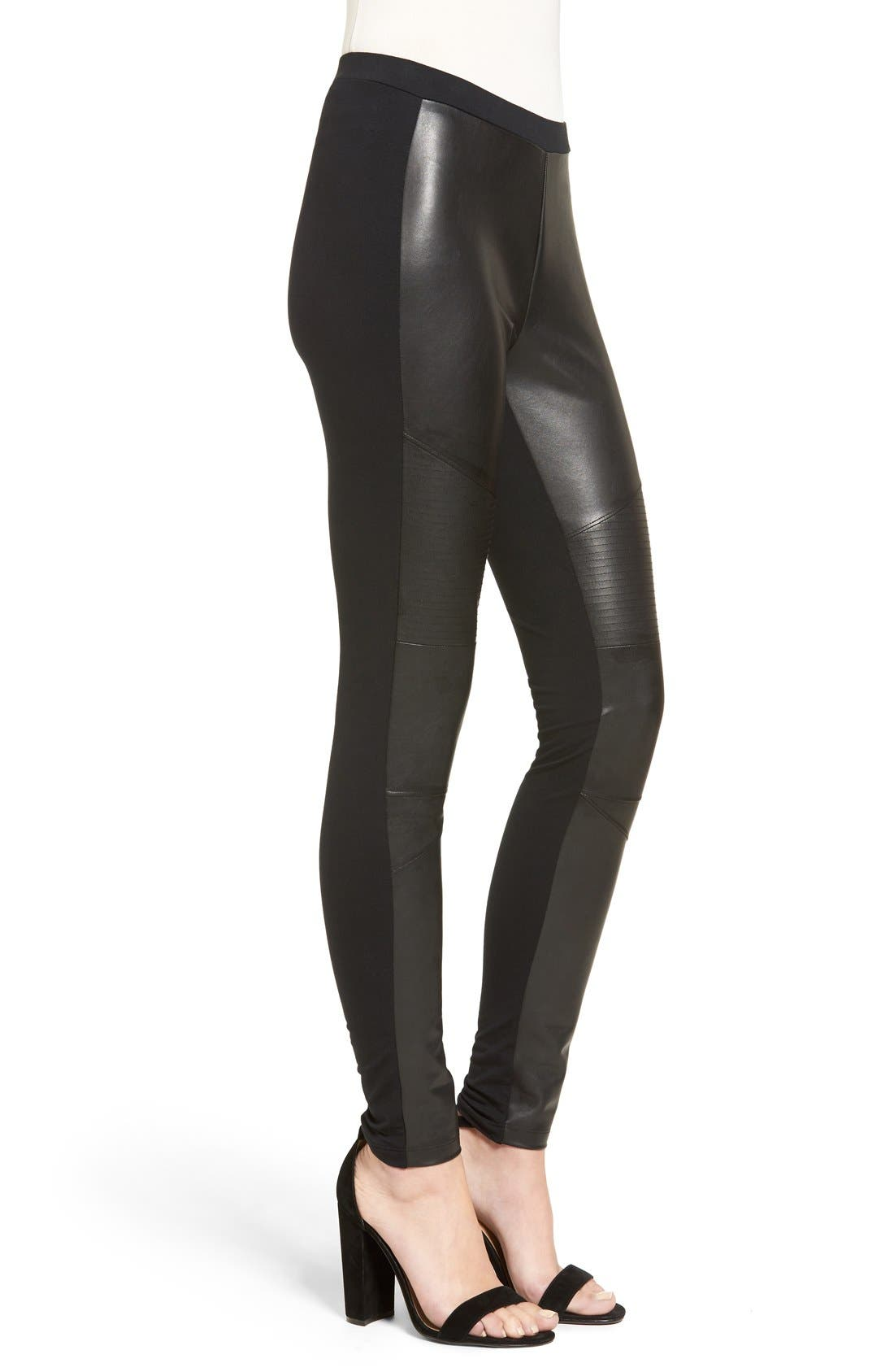 Alternate Image 3  - BP. Faux Leather Front Moto Leggings