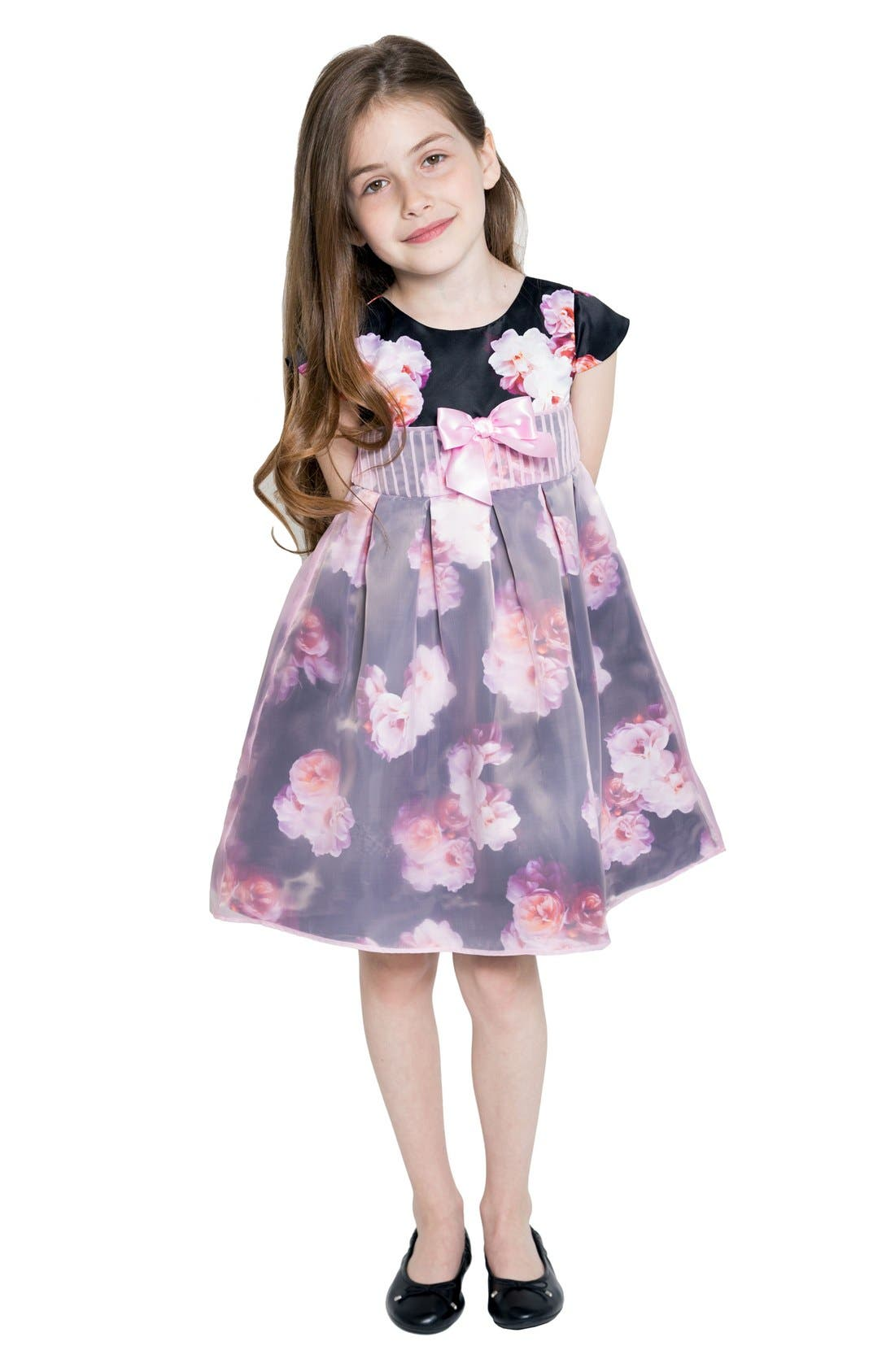 LITTLE ANGELS Print Satin Organza Dress