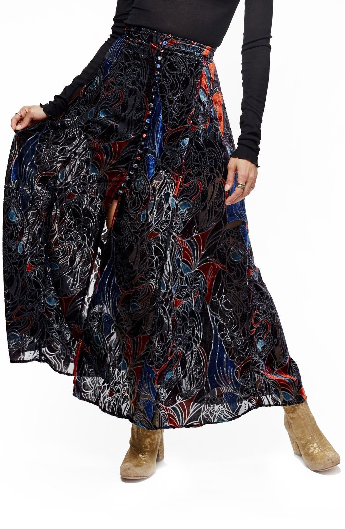 Alternate Image 1 Selected - Free People Velvet Burnout Maxi Skirt