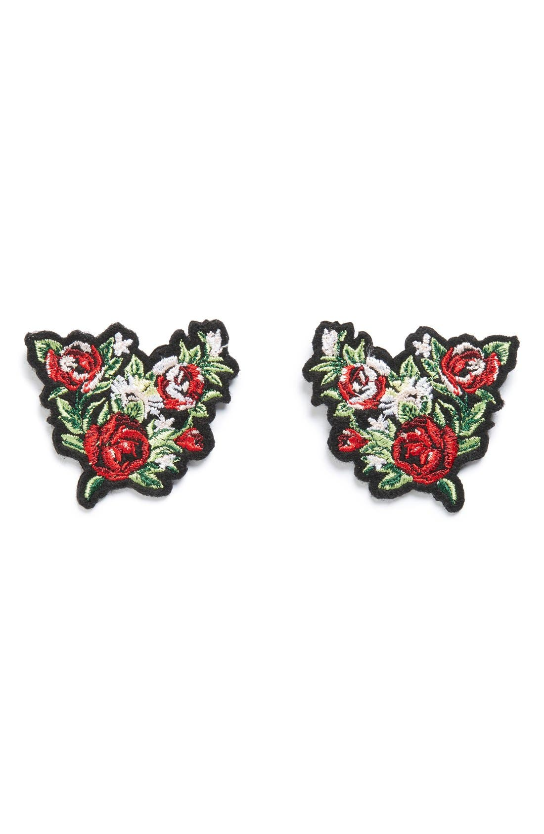 Alternate Image 1 Selected - Topshop Embroidered Floral Collar Tips