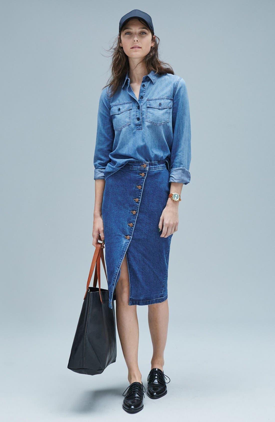 Alternate Image 6  - Madewell Denim Midi Skirt