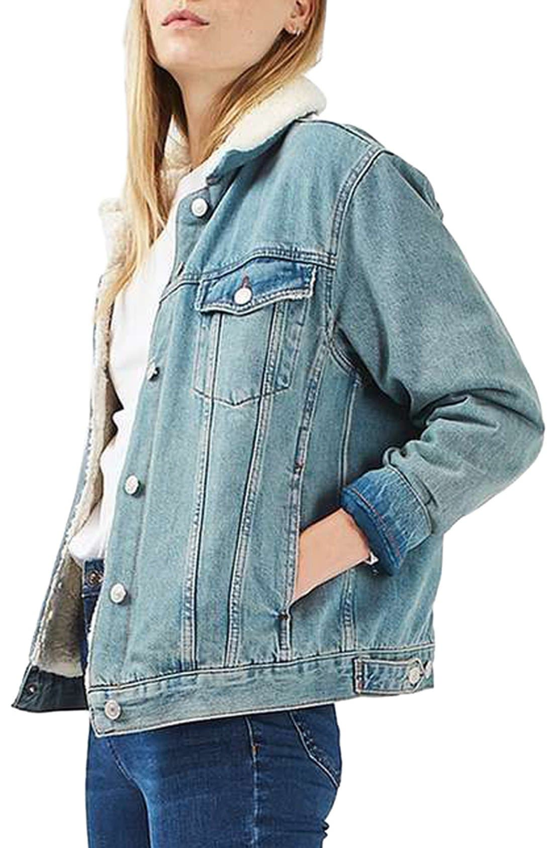Alternate Image 1 Selected - Topshop Moto Borg Denim Jacket