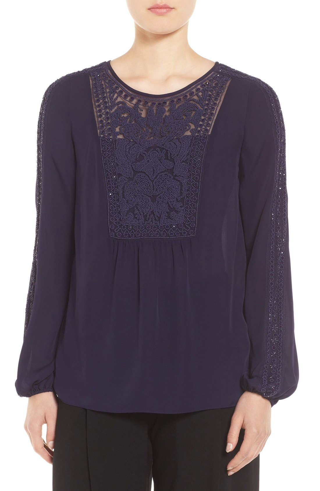 Elie Tahari Beaded Silk Blouse