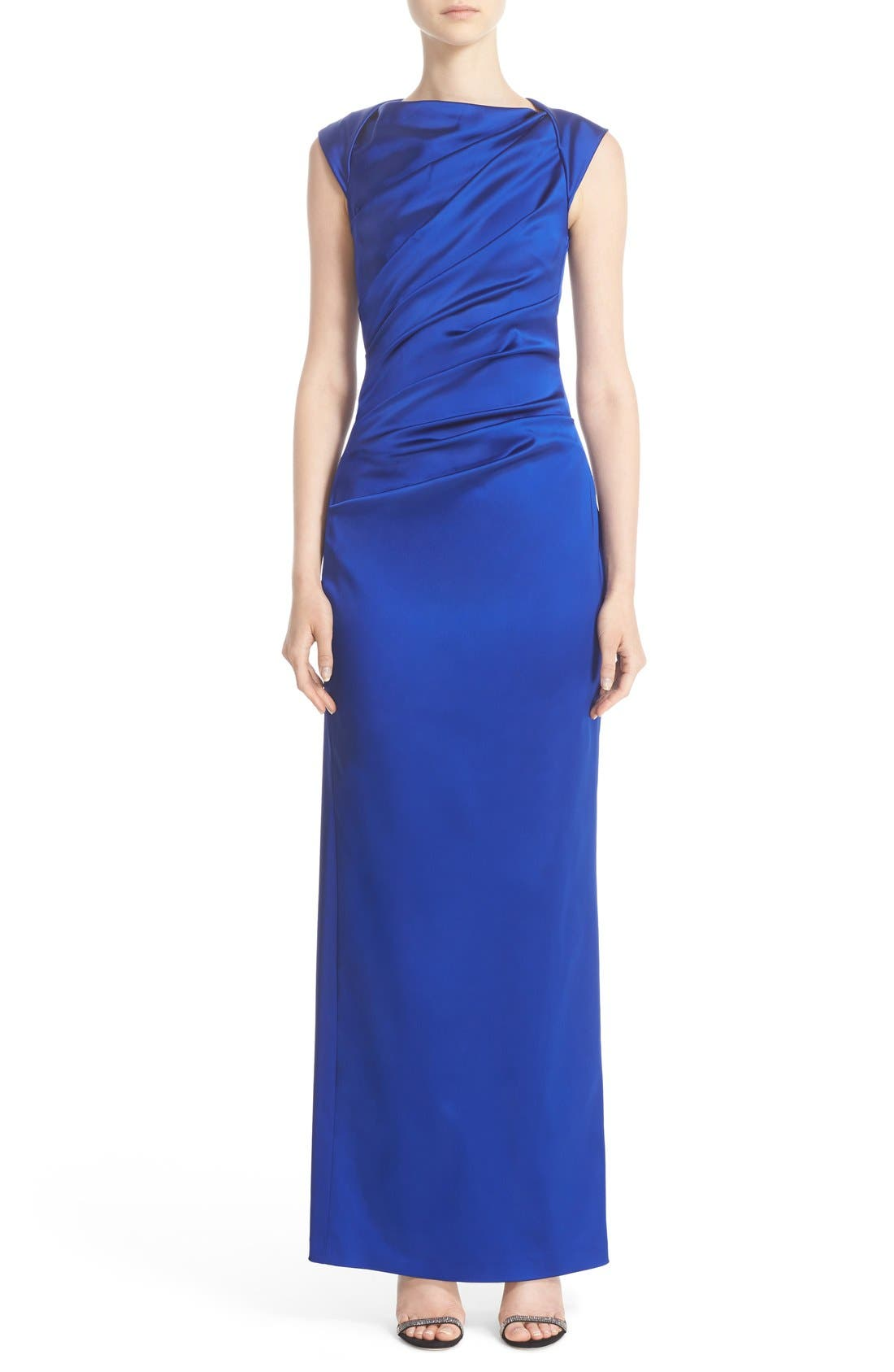 Talbot Runhof Bateau Neck Stretch Satin Column Gown
