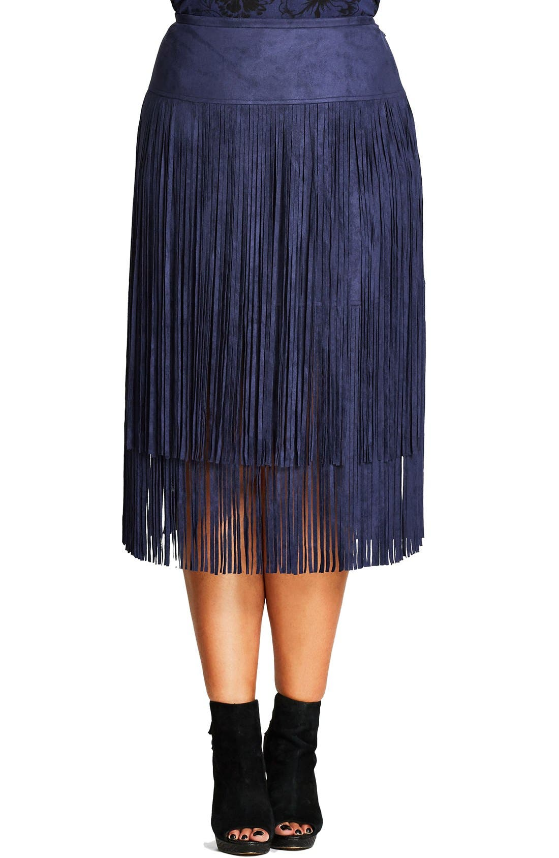 City Chic Woodstock Tiered Fringe Faux Suede Skirt (Plus Size)