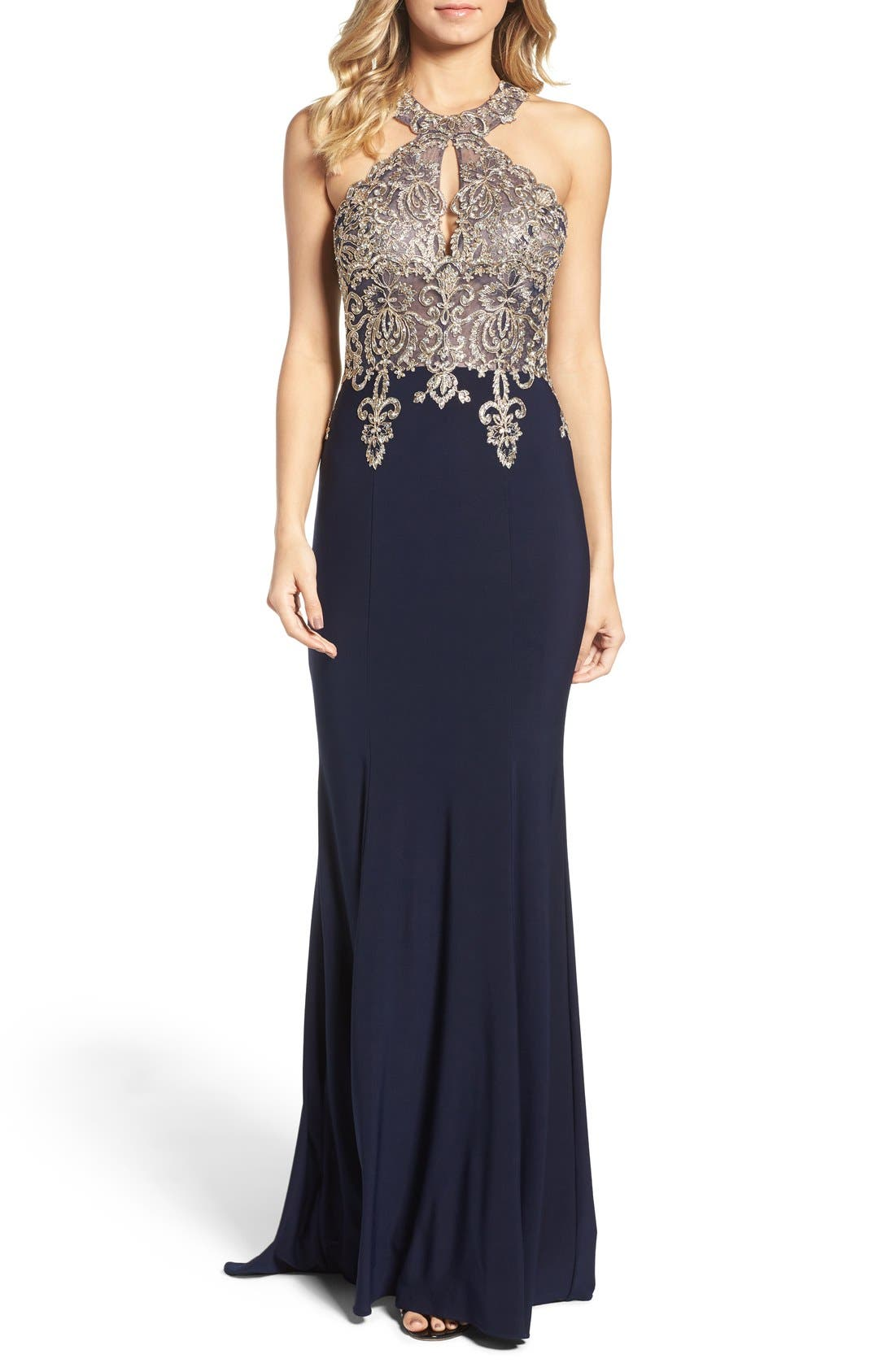 Xscape Embellished Embroidered Gown (Regular & Petite)