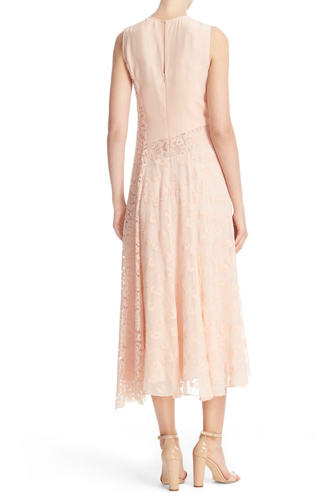 Alternate Image 2  - Rebecca Taylor Chevron Lace Midi Dress