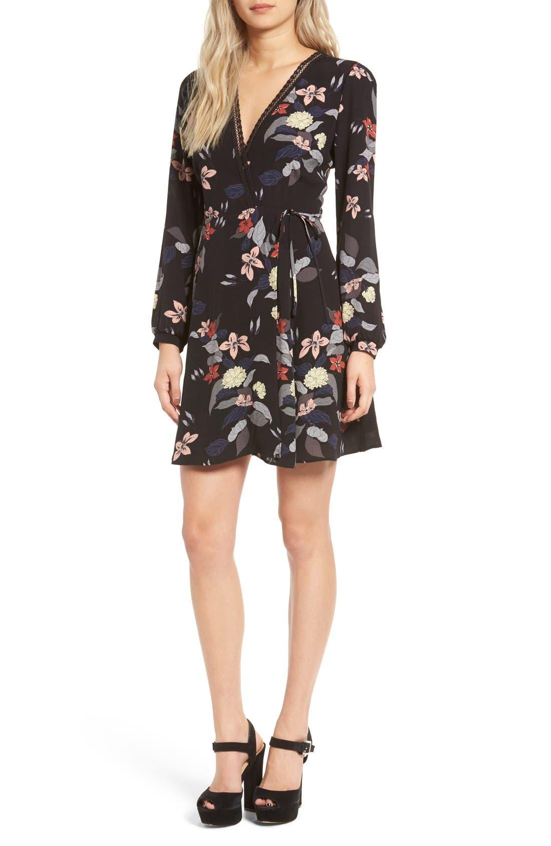 Main Image - ASTR Floral Print Wrap Dress