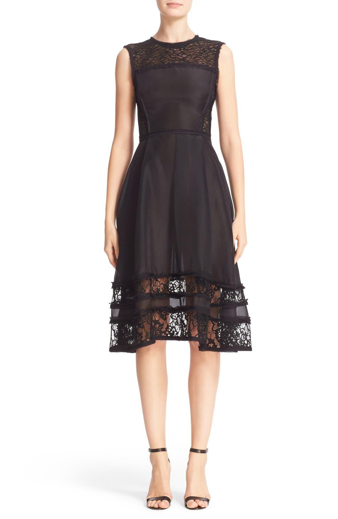 JASON WU Lace Inset Silk Cocktail Dress