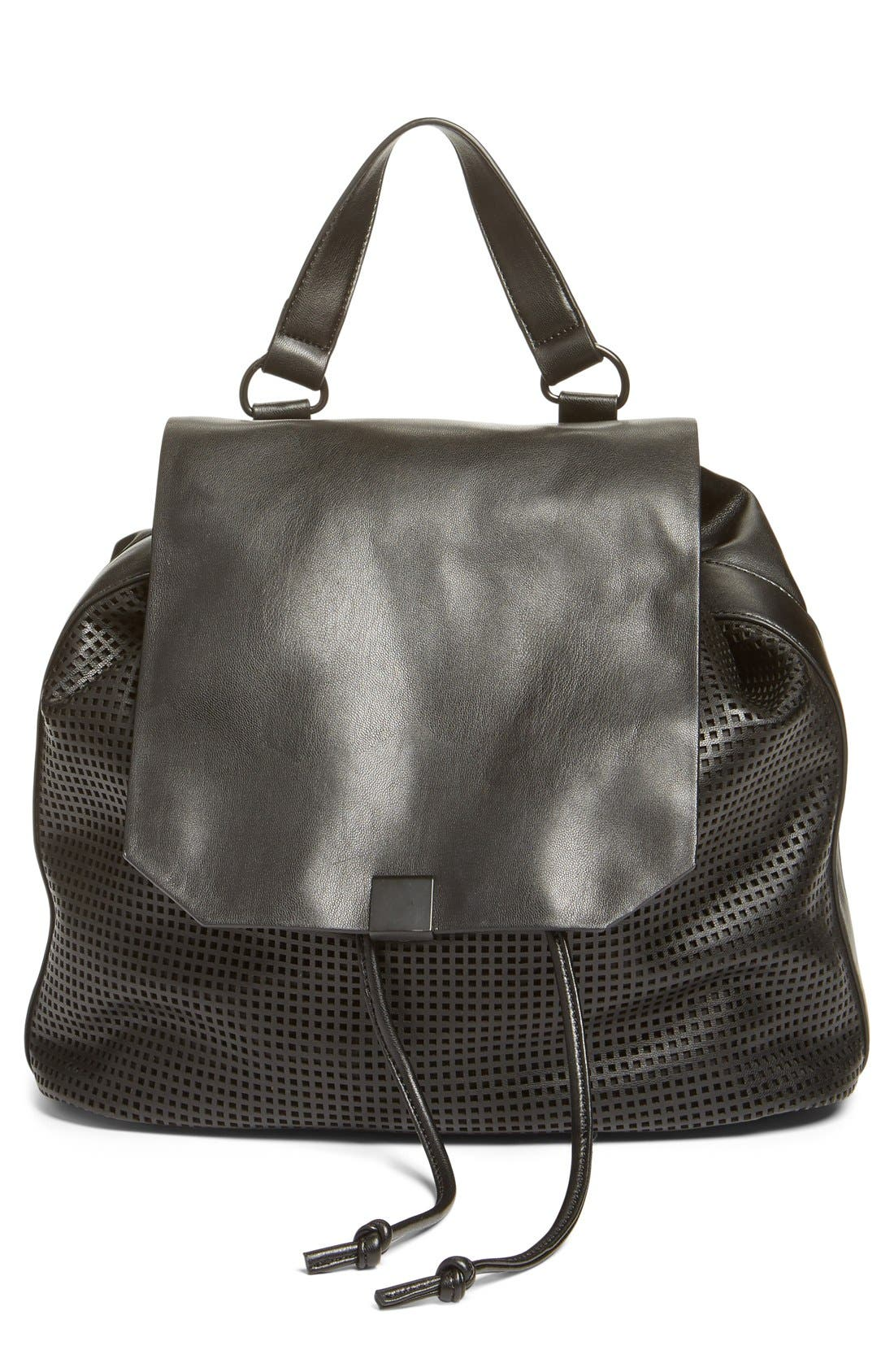 Phase 3 Perforated Faux Leather Backpack