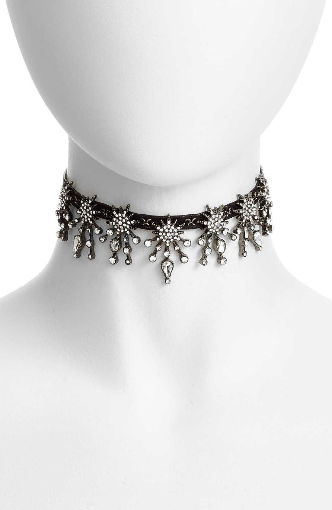 Alternate Image 1 Selected - Treasure&Bond Starburst Crystal & Leather Choker
