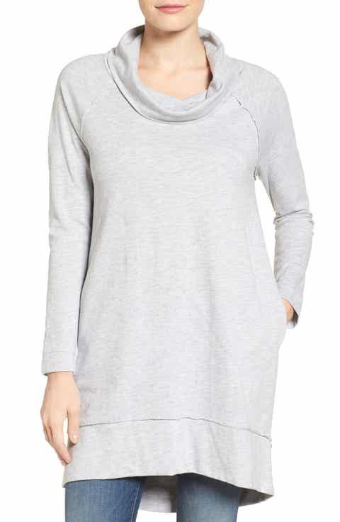 Caslon® Cowl Neck Tunic Sweatshirt (Regular   Petite)