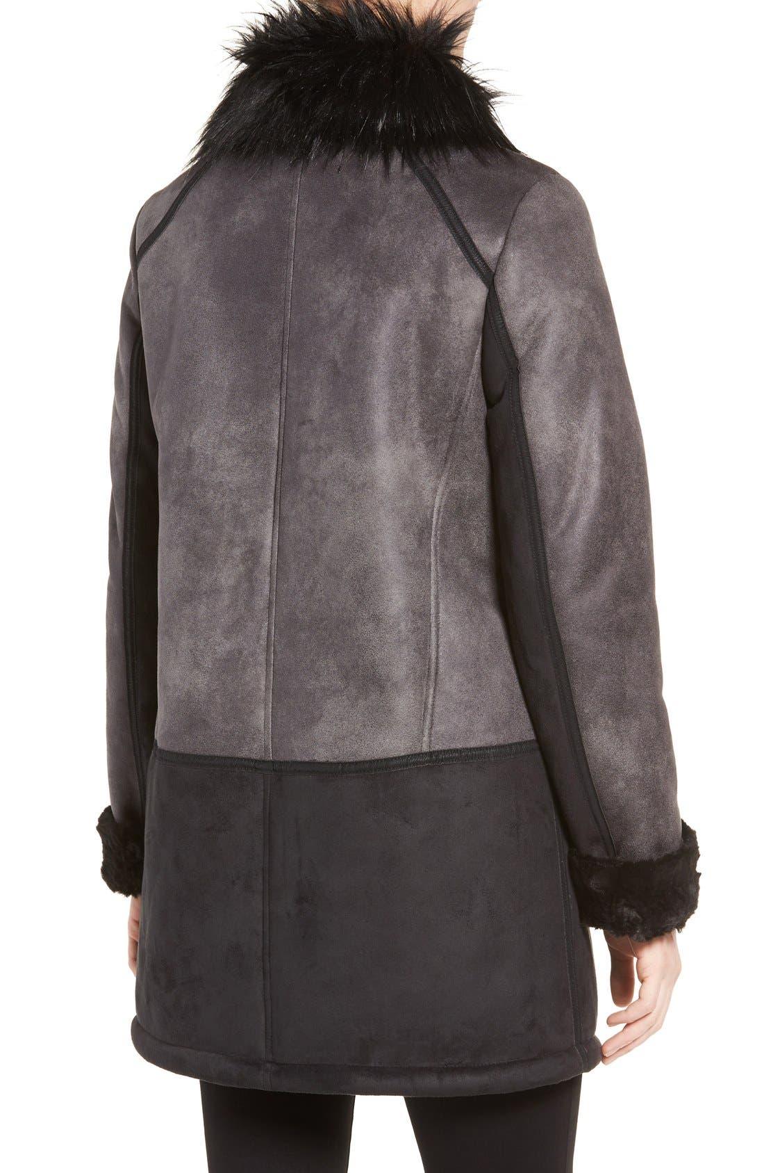 Alternate Image 2  - Tahari Faux Shearling Coat with Faux Fur Trim