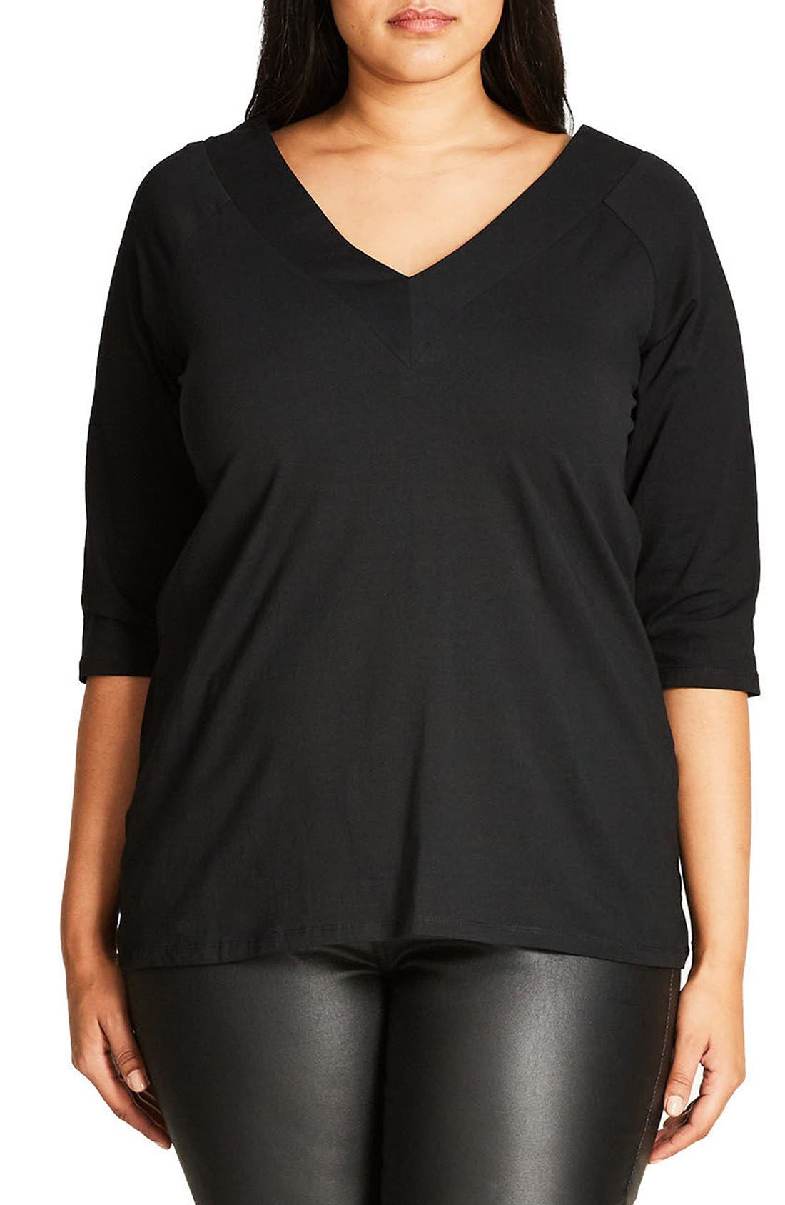 CITY CHIC V-Front Bardot Top