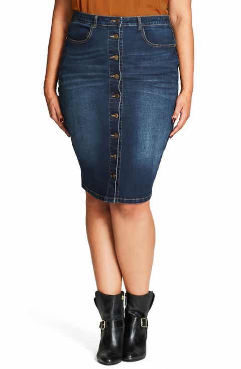 City Chic Pin Up Denim Skirt (Plus Size)