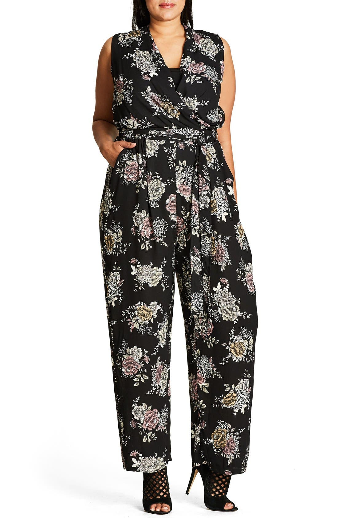 City Chic Lush Floral Jumpsuit (Plus Size)