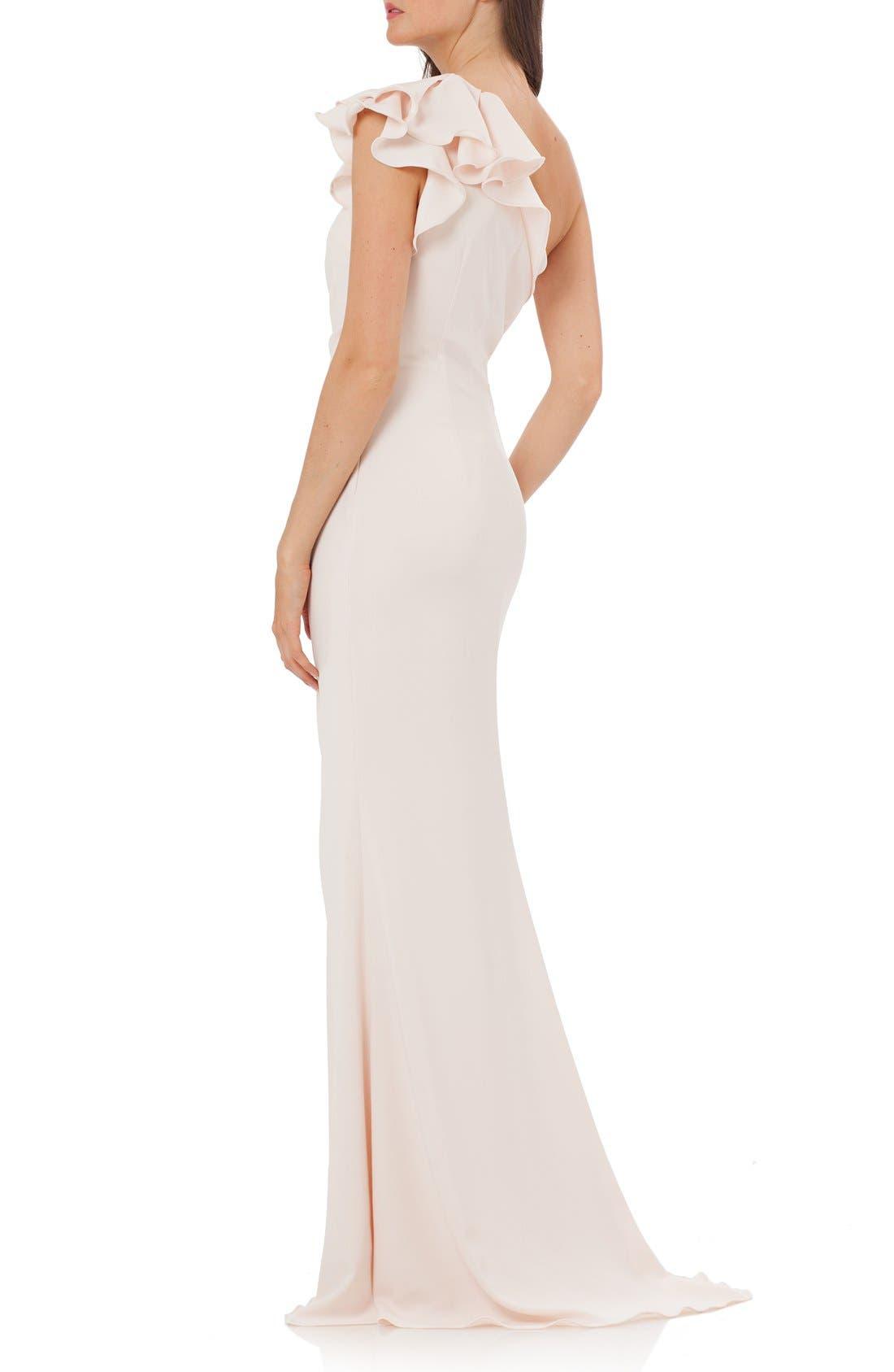 Alternate Image 2  - Carmen Marc Valvo Infusion One-Shoulder Gown