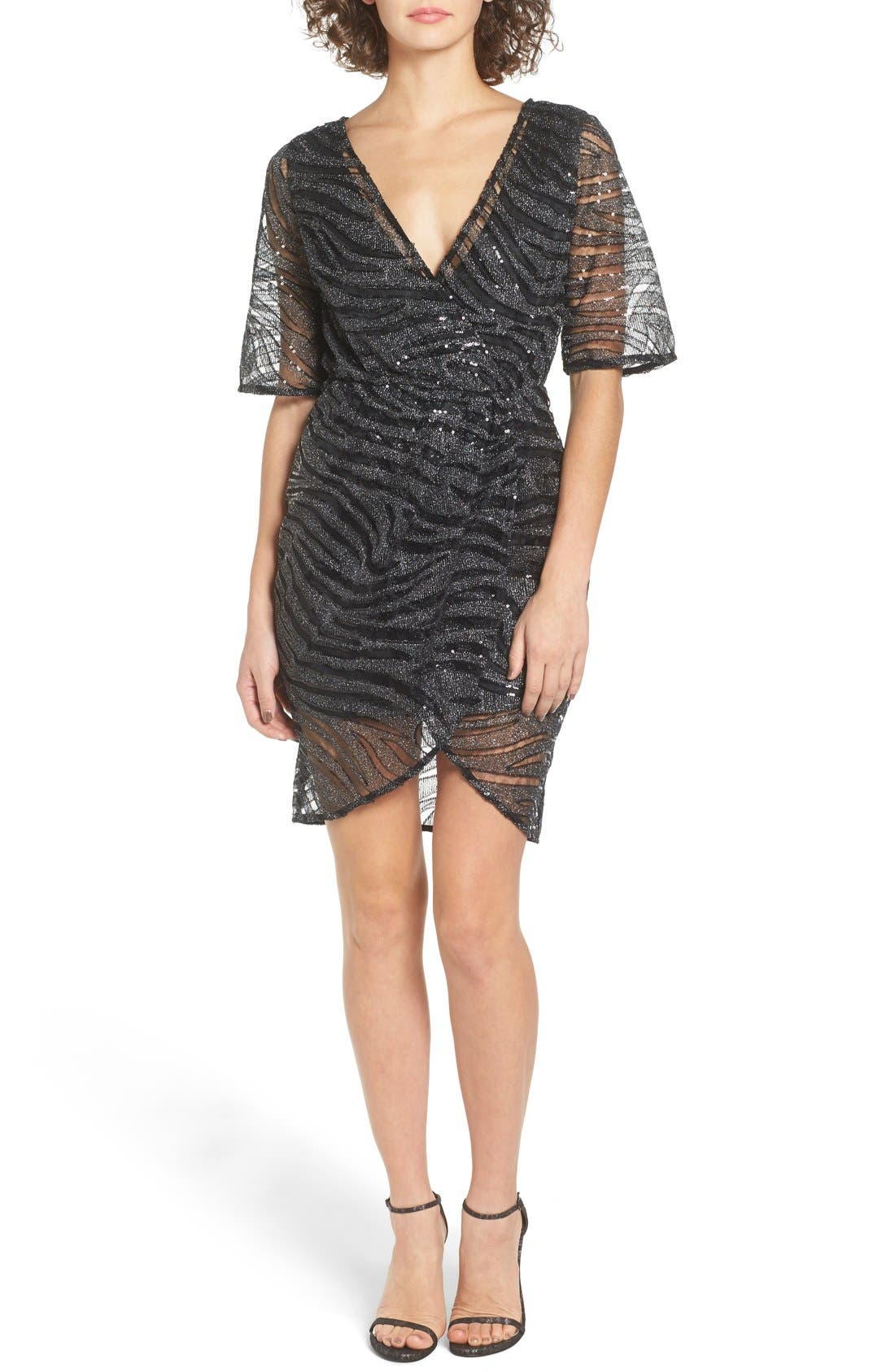 Alternate Image 1 Selected - TFNC Gin Illusion Animal Print Dress