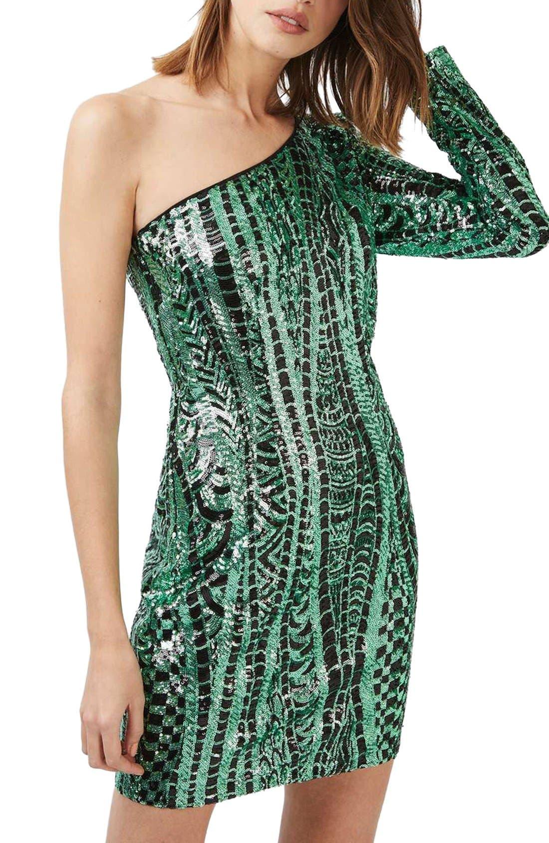 Alternate Image 1 Selected - Topshop One Shoulder Sequin Dress