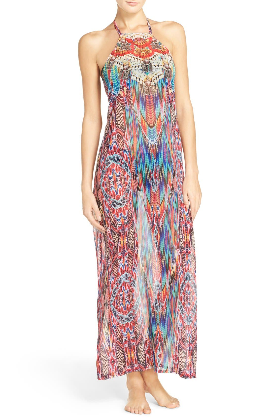 Laundry by Shelli Segal Halter Cover-Up Maxi Dress