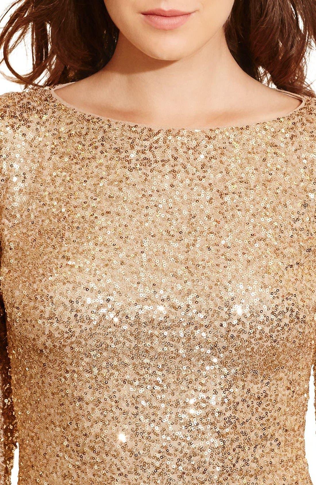 Alternate Image 4  - Lauren Ralph Lauren Backless Sequin Dress (Petite)