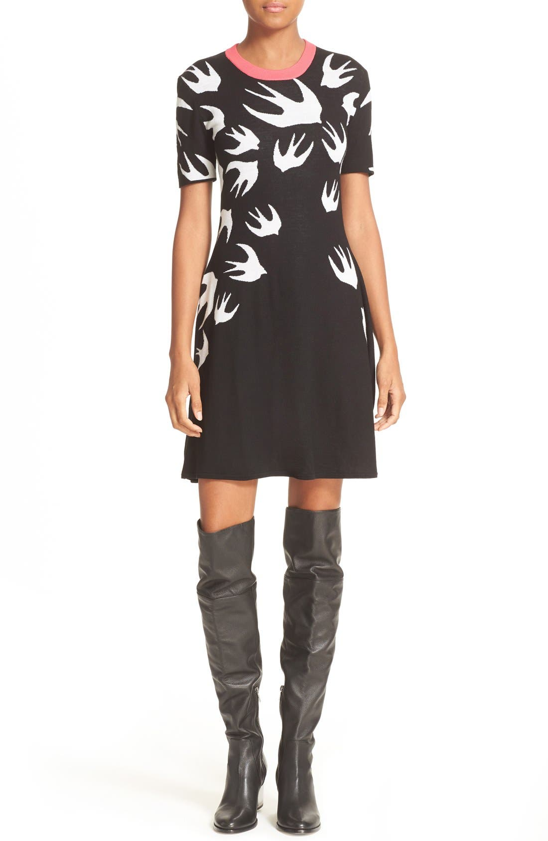 McQ Alexander McQueen Swallow Jacquard Skater Dress