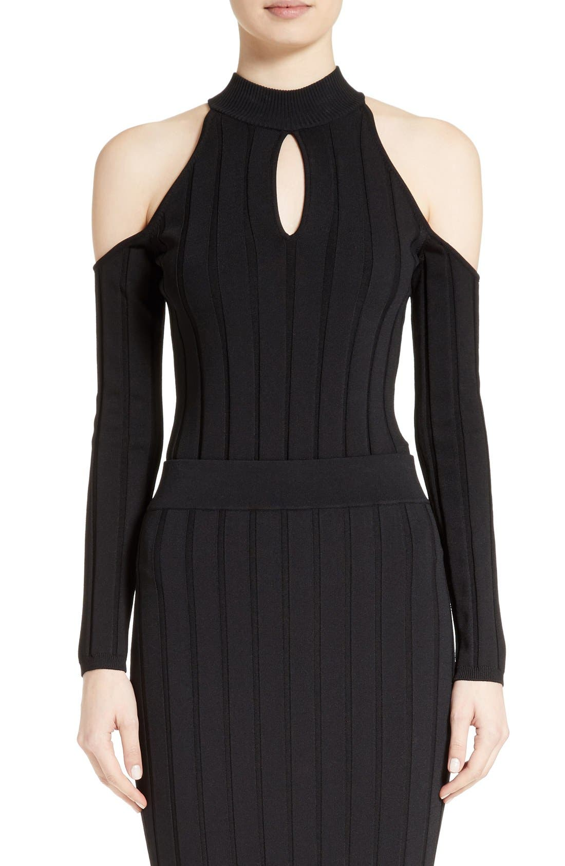 JONATHAN SIMKHAI Cold Shoulder Rib Knit Bodysuit