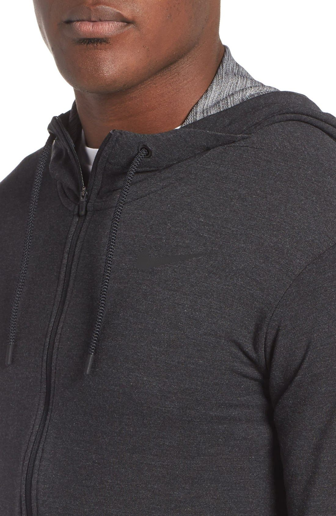 Alternate Image 4  - Nike Dri-Fit Training Fleece Hooded Sweatshirt