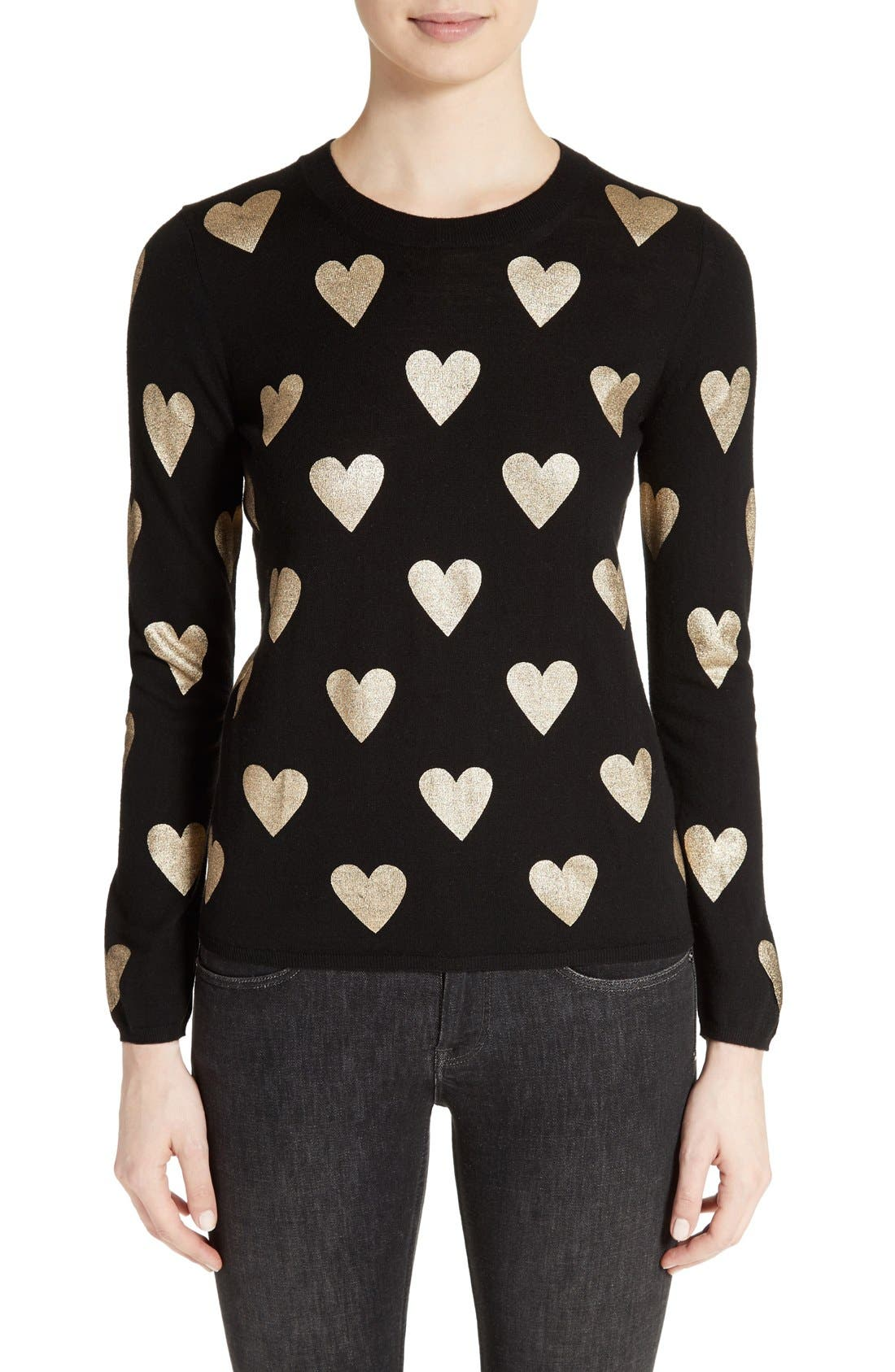 Alternate Image 1 Selected - Burberry Bilboa Foil Heart Wool Sweater