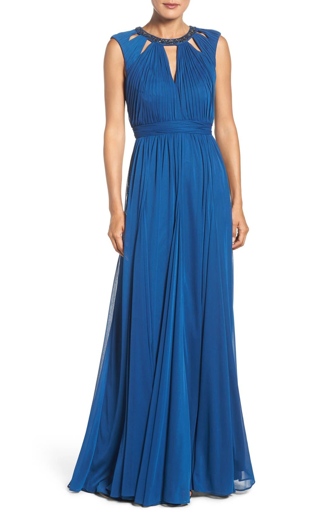 Main Image - Adrianna Papell Embellished Collar Shirred Gown