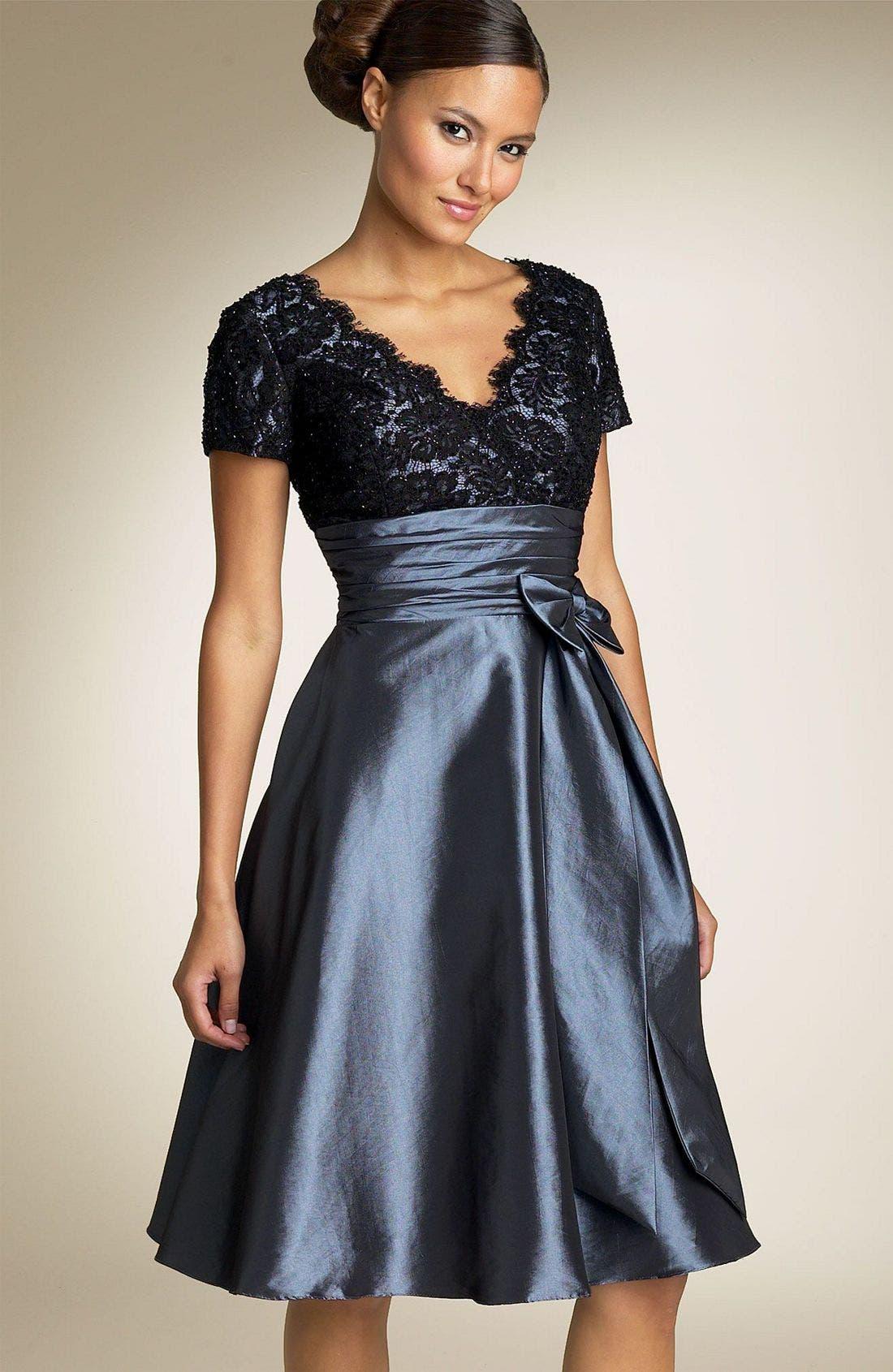 Alternate Image 1 Selected - JS Boutique Cap Sleeve Lace & Taffeta Dress