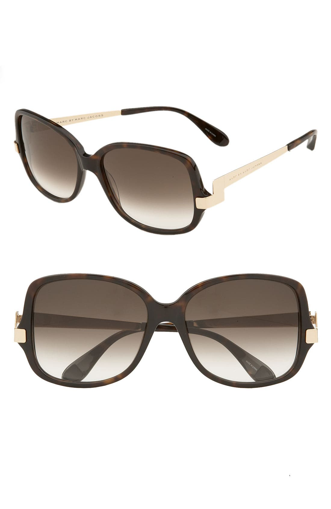 Main Image - MARC BY MARC JACOBS 56mm Oversized Square Sunglasses with Retro Temples
