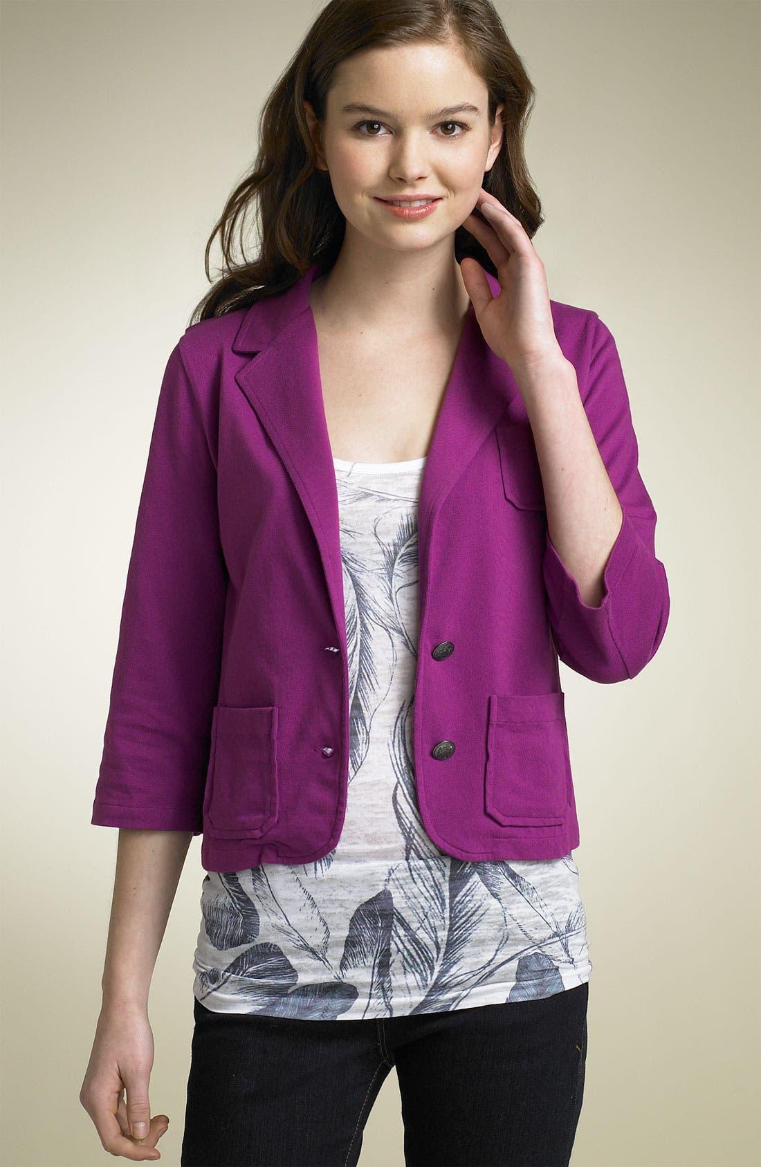 Main Image - Frenchi® Shrunken Jersey Blazer (Juniors)