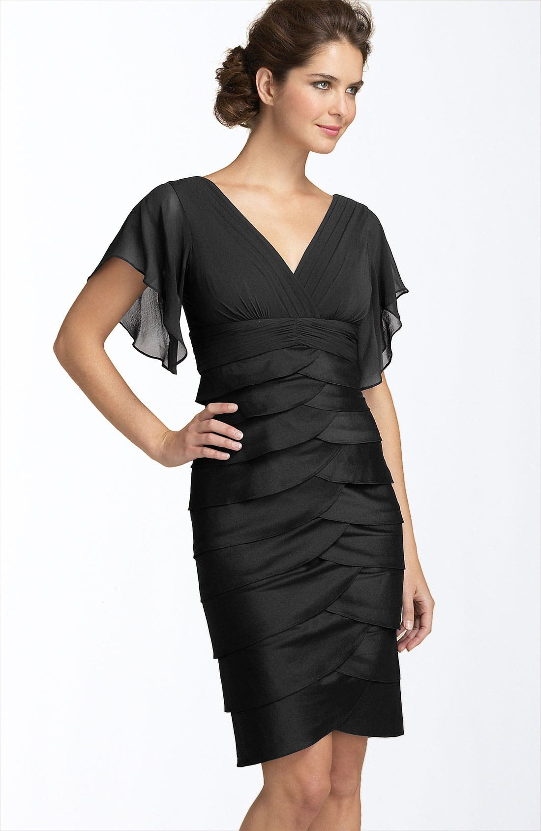 Alternate Image 1 Selected - Adrianna Papell Flutter Sleeve Tiered Dress