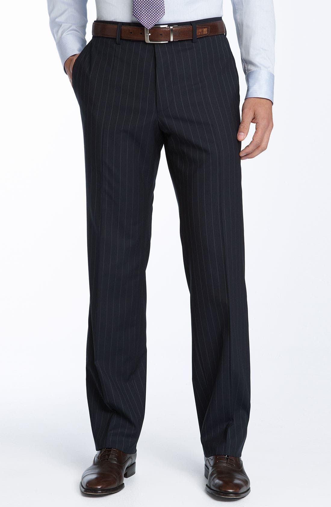 Alternate Image 2  - BOSS Black Navy Stripe Wool Blend Suit