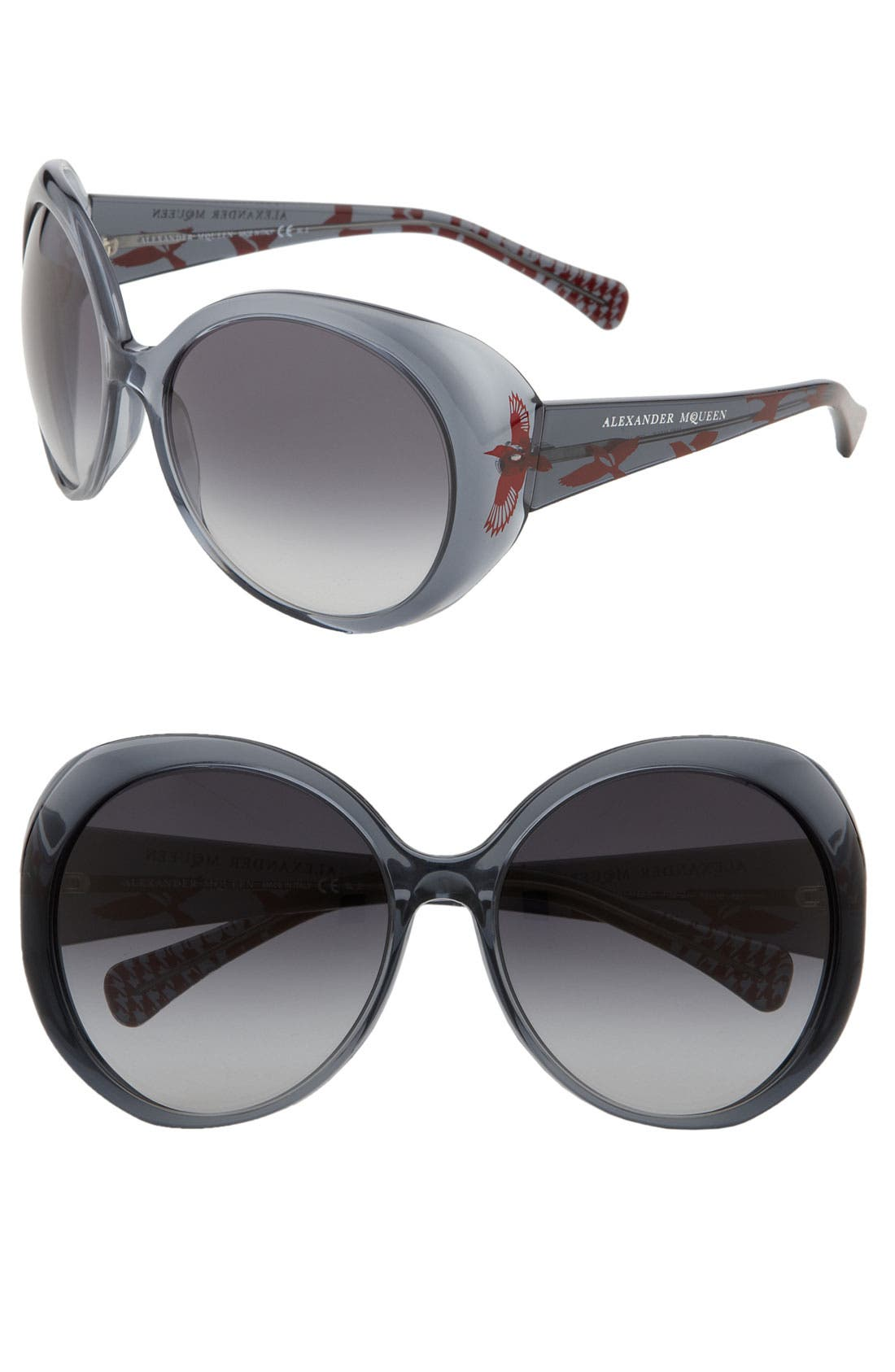 Alternate Image 1 Selected - Alexander McQueen 'Bird Design' Oversized Round Sunglasses