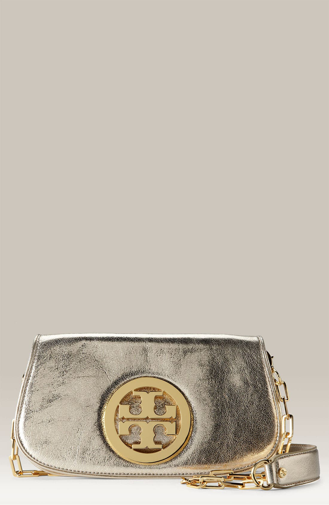 Main Image - Tory Burch Logo Flap Clutch