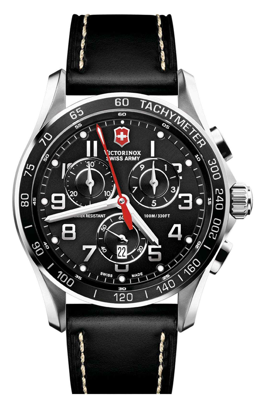 Main Image - Victorinox Swiss Army® 'Chrono Classic XLS' Leather Strap Watch, 45mm