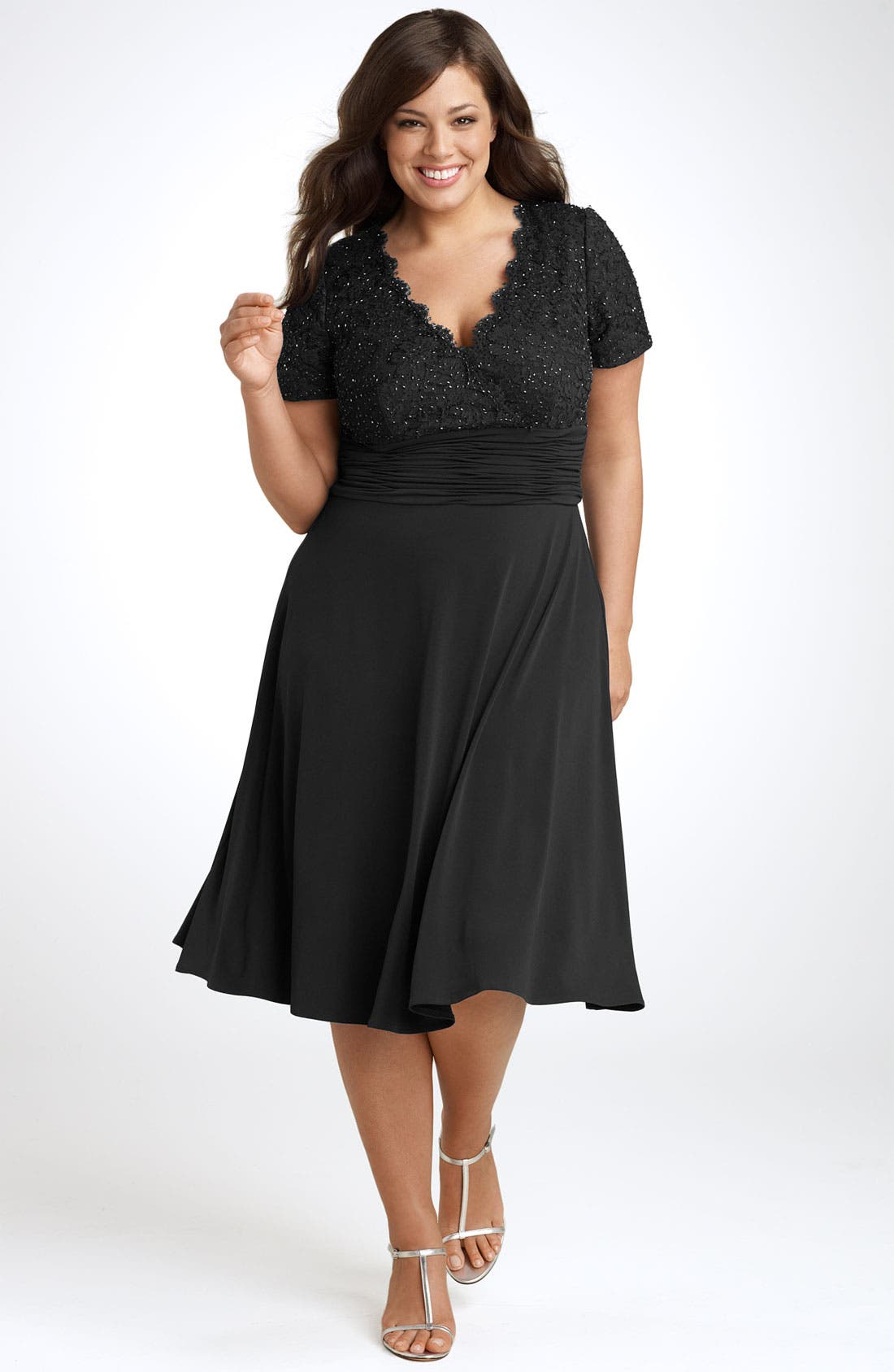 Main Image - JS Boutique Beaded Lace Dress (Plus)
