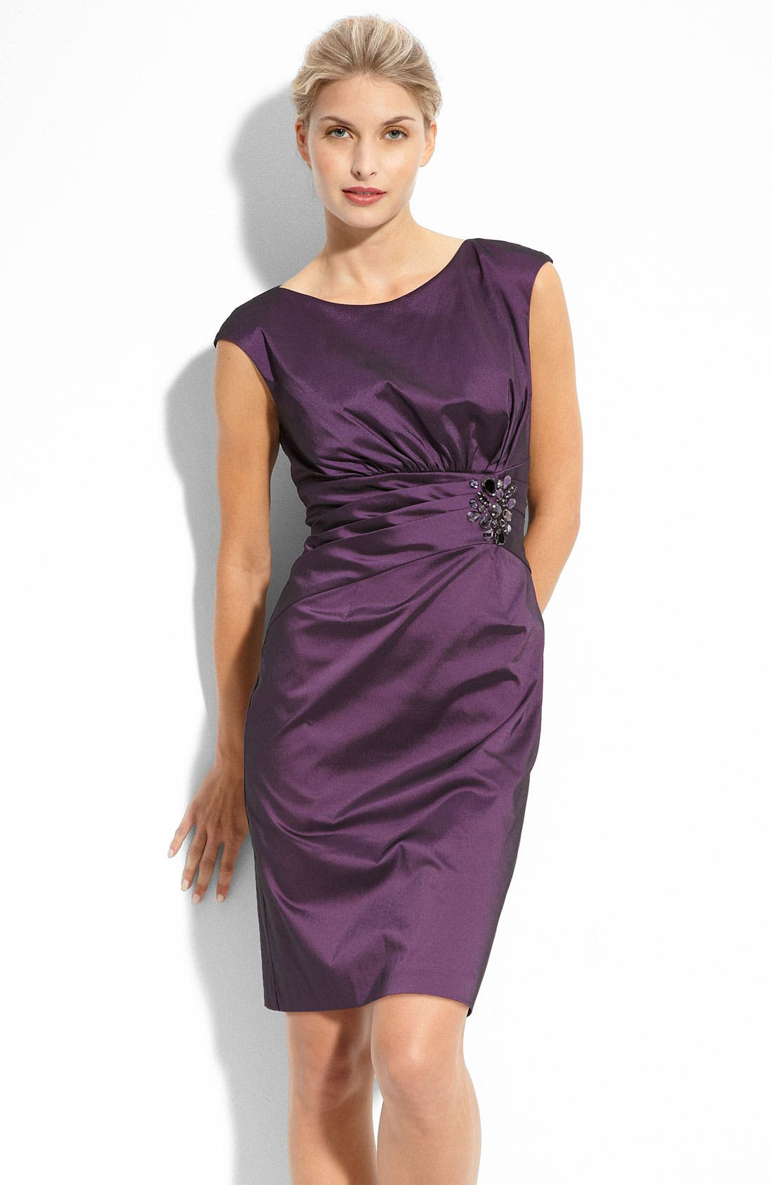 Main Image - Eliza J Beaded Stretch Taffeta Sheath Dress