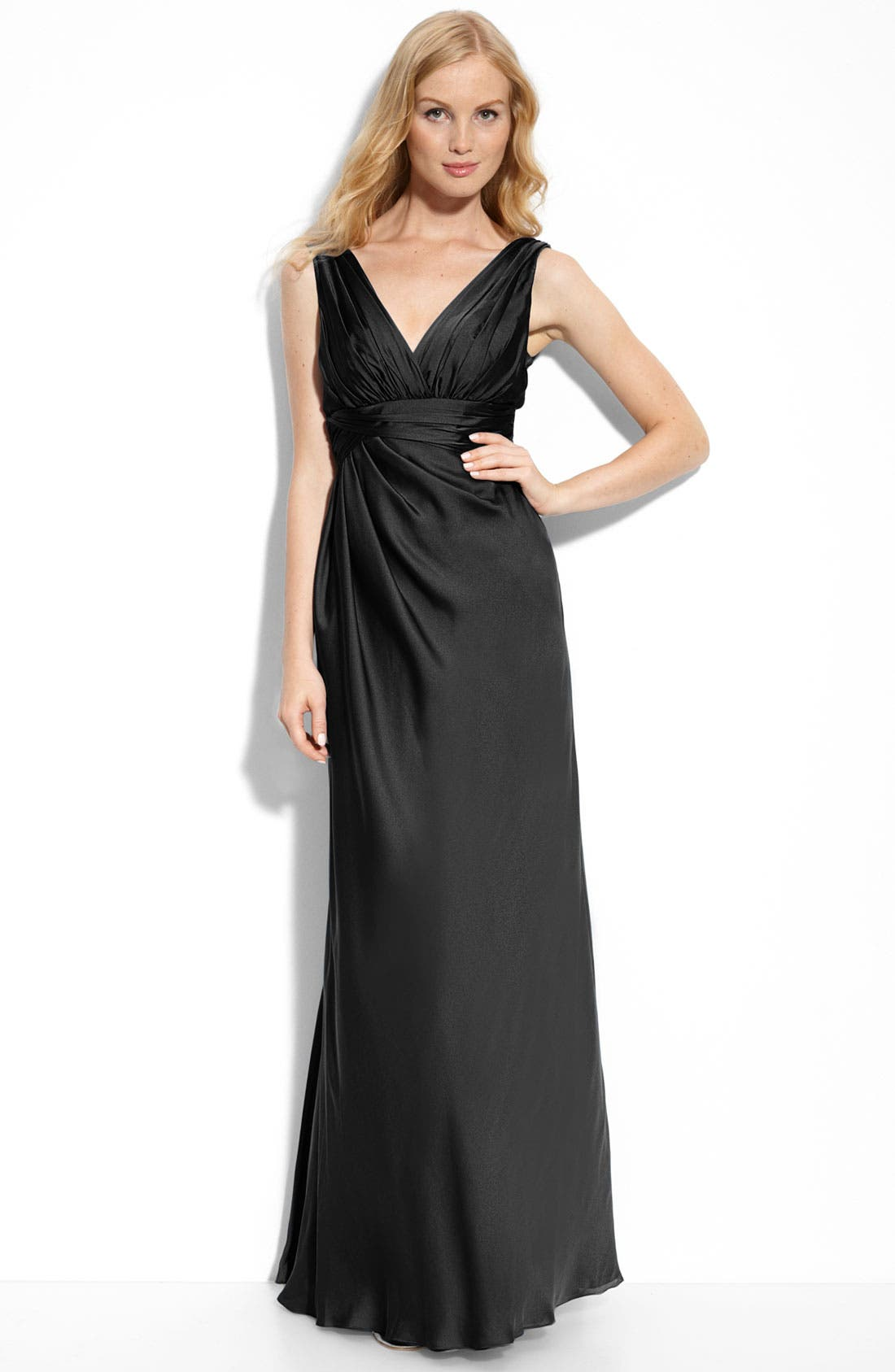 Alternate Image 1 Selected - ML Monique Lhuillier Bridesmaids Pleated Gown (Nordstrom Exclusive)