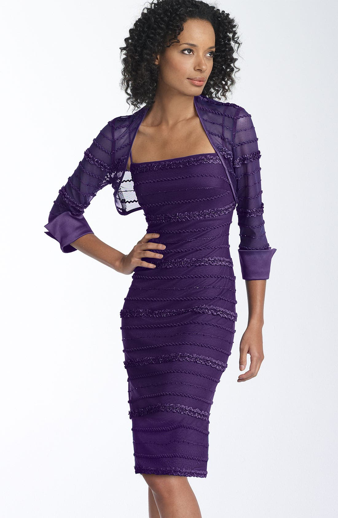 Alternate Image 1 Selected - JS Collections Ruffle Stripe Mesh Sheath Dress & Bolero