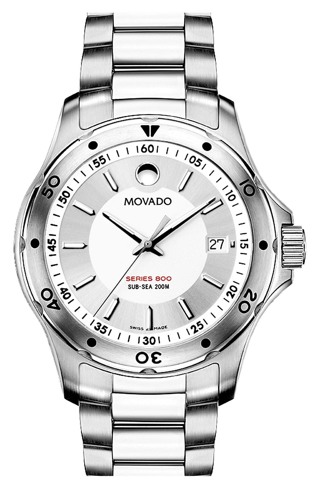 Alternate Image 1 Selected - Movado 'Series 800' Men's Stainless Steel Watch