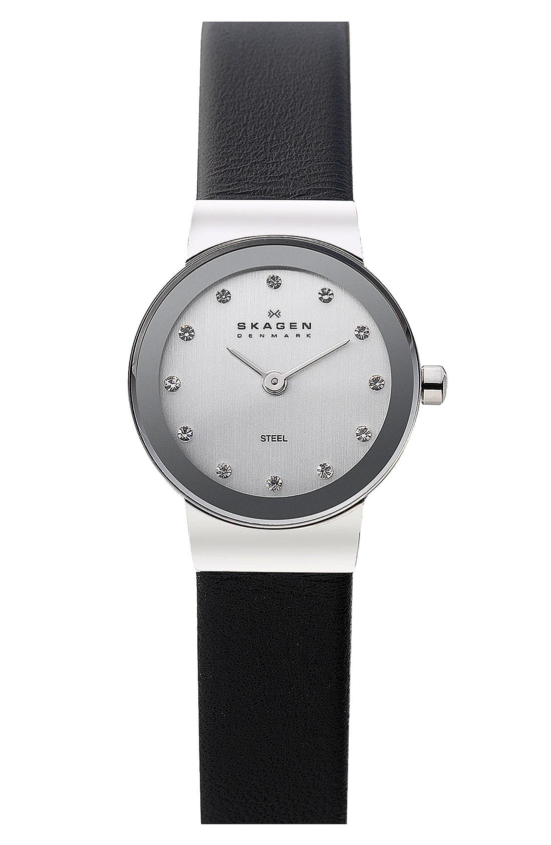 Alternate Image 1 Selected - Skagen 'Freja' Leather Strap Watch, 22mm
