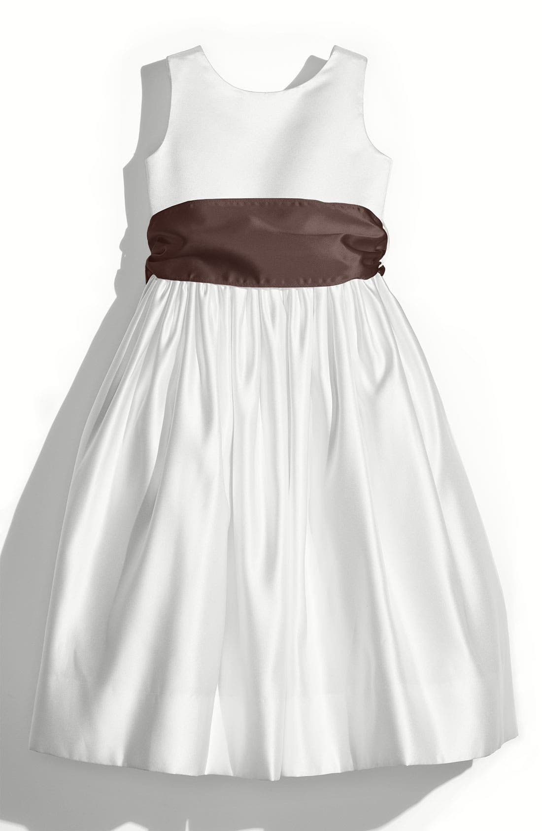 Us Angels White Tank Dress with Satin Sash (Toddler, Little Girls & Big Girls)