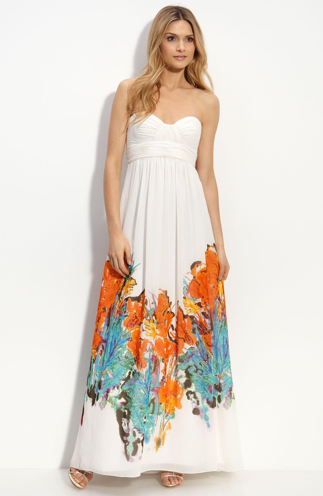Main Image - Aidan Mattox Border Print Strapless Chiffon Dress